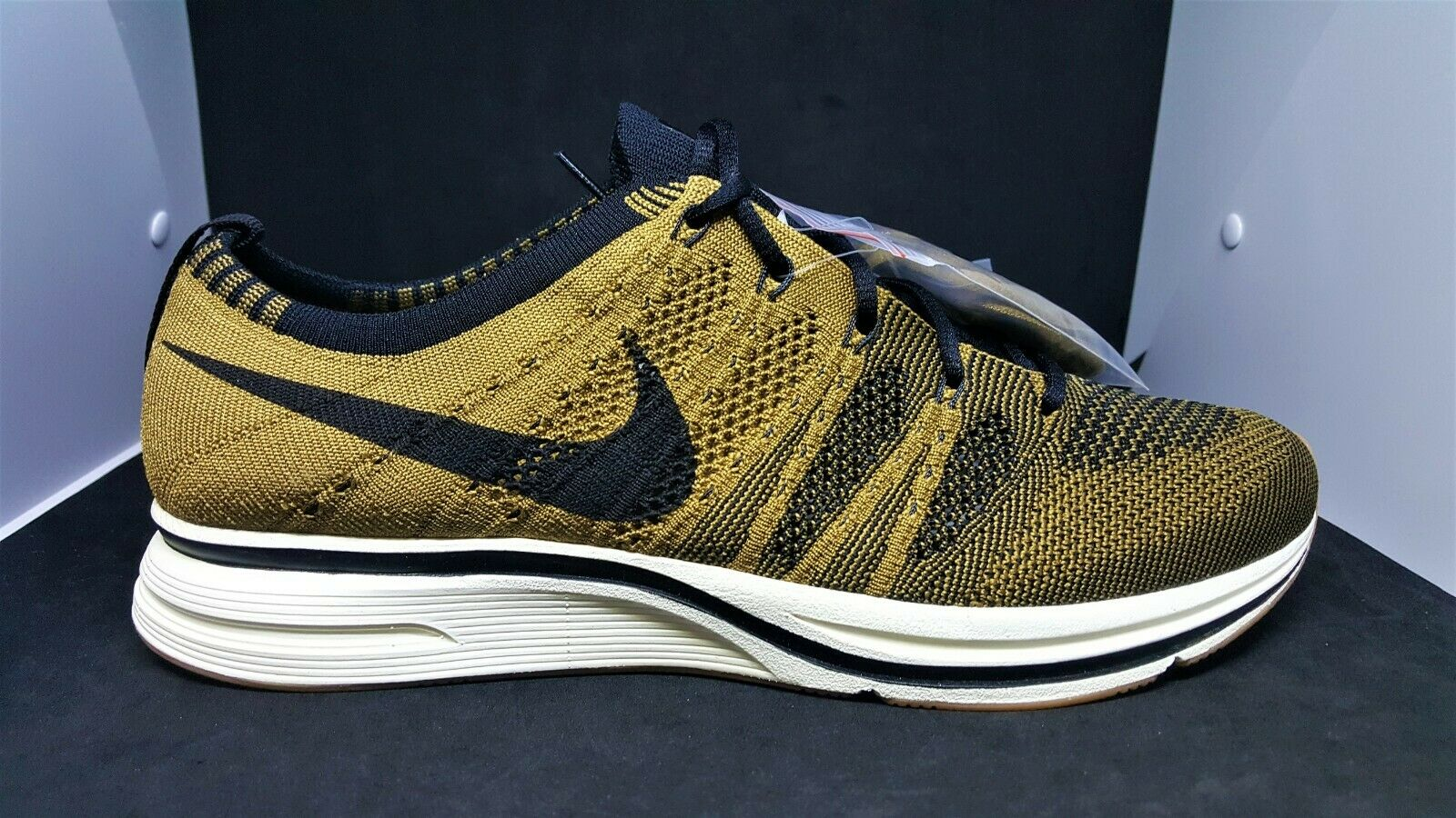 dc43dd2efeb96 Nike Mens Air Flyknit Trainer golden golden golden Beige Black Gum Light  Brown AH8396-203