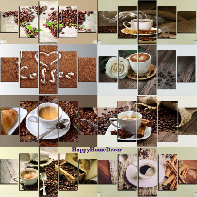 Delicious Coffee Poster Kitchen Wall Art Coffee Shop Decor 5 pieces Canvas Print