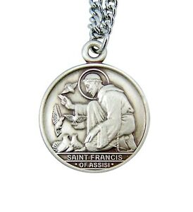 Sterling silver saint francis of assisi with birds round medal image is loading sterling silver saint francis of assisi with birds aloadofball Gallery