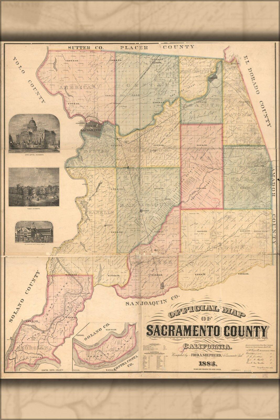 Plakat, Viele Größen; Offiziell Karte von Sacramento Grafschaft Kalifornien 1885