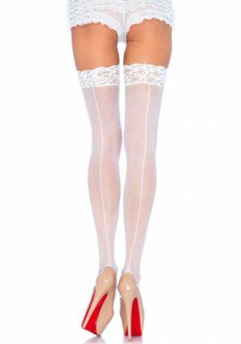 Calze Stocking punte Bordo cucitura bianco donna LEG AVENUE 40-42