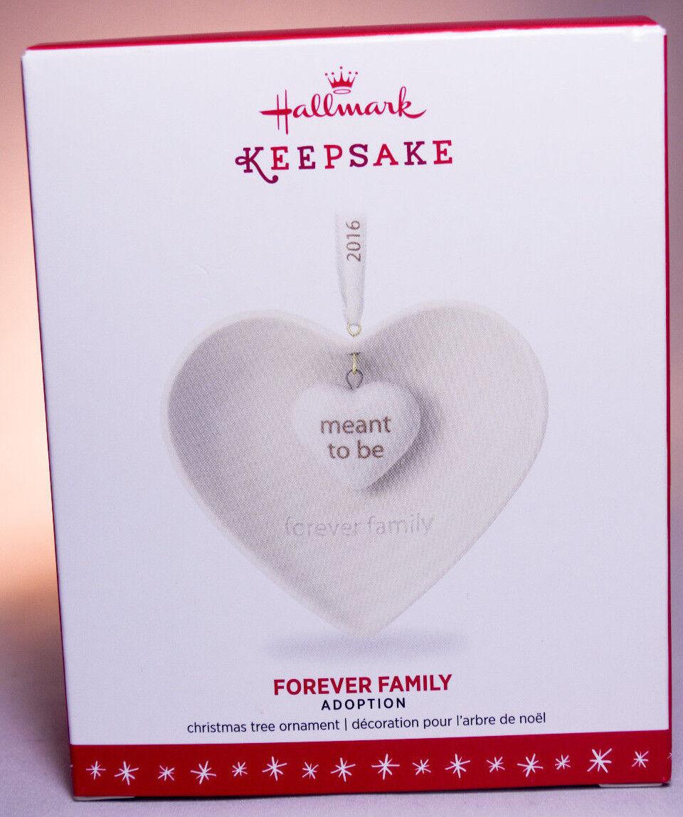 """/""""FOREVER FAMILY/"""" 2016 Adoption Hallmark Keepsake Ornament NIB Porcelain Heart"""
