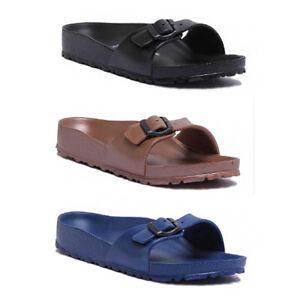 112885e8afc0c7 Image is loading Birkenstock-Madrid-Essentials-EVA-Women -Black-Slide-Sandals-