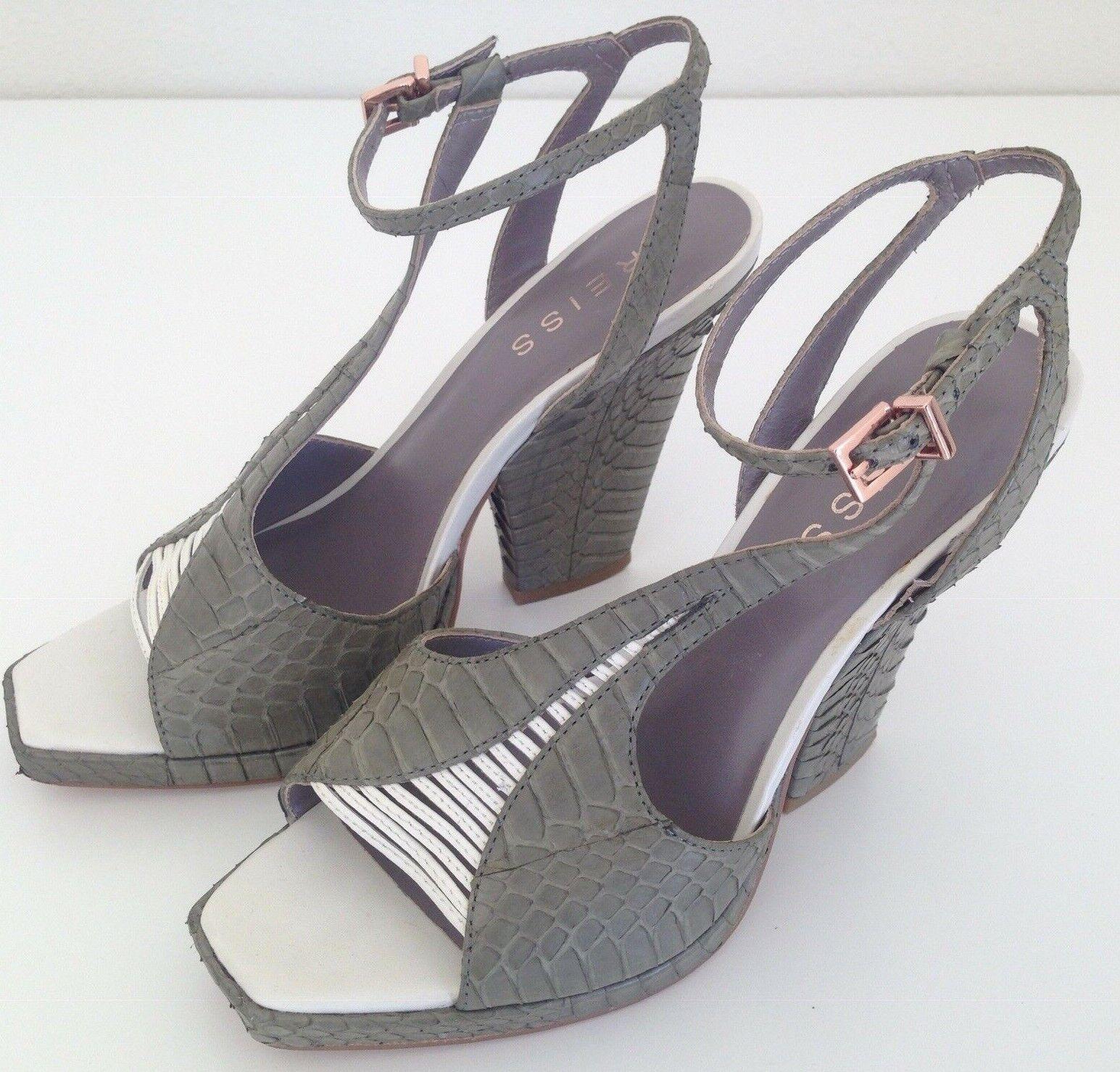 Reiss Pumps Wedge donna US7 EU37 verde bianca Snake Leather scarpe