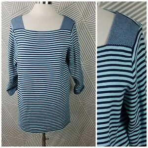 Coldwater-Creek-Plus-size-1X-18-Tunic-Top-Stretch-shirt-Stripe-Sweatshirt-knit