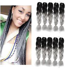 "10pc 24""/60cm jumbo braiding hair synthetic hair extension Ombre #10 black grey"
