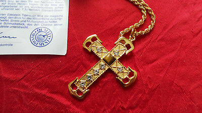 "++ Neu! Opulente Kette Mit Kreuz Und Tigerauge ""bugor Classic Collection"" 24k ! 100% Original"