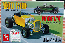1929 Ford Model A Roadster Mod Rod 2 complete kits, 1:25, AMT 1002 neu 2016 neu