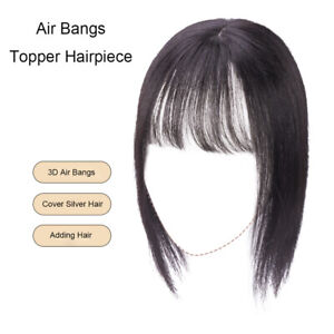 100-Human-Hair-Toupee-Topper-Hairpiece-for-Women-w-Air-Bangs-Clip-in-Top-Piece