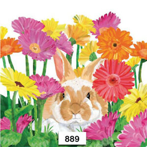 890 TWO Individual Paper Luncheon Decoupage Napkins EASTER BUNNY RABBITS