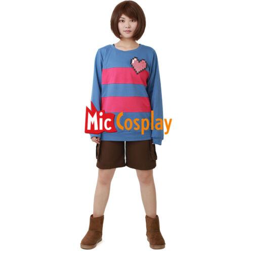 Game Frisk Cosplay Halloween Costume Women Hoodie Sweatshirt Including Heart