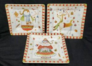 222-Fifth-Christmas-Play-Square-Porcelain-Appetizer-Plate-Santa-deer-snowman-5-034