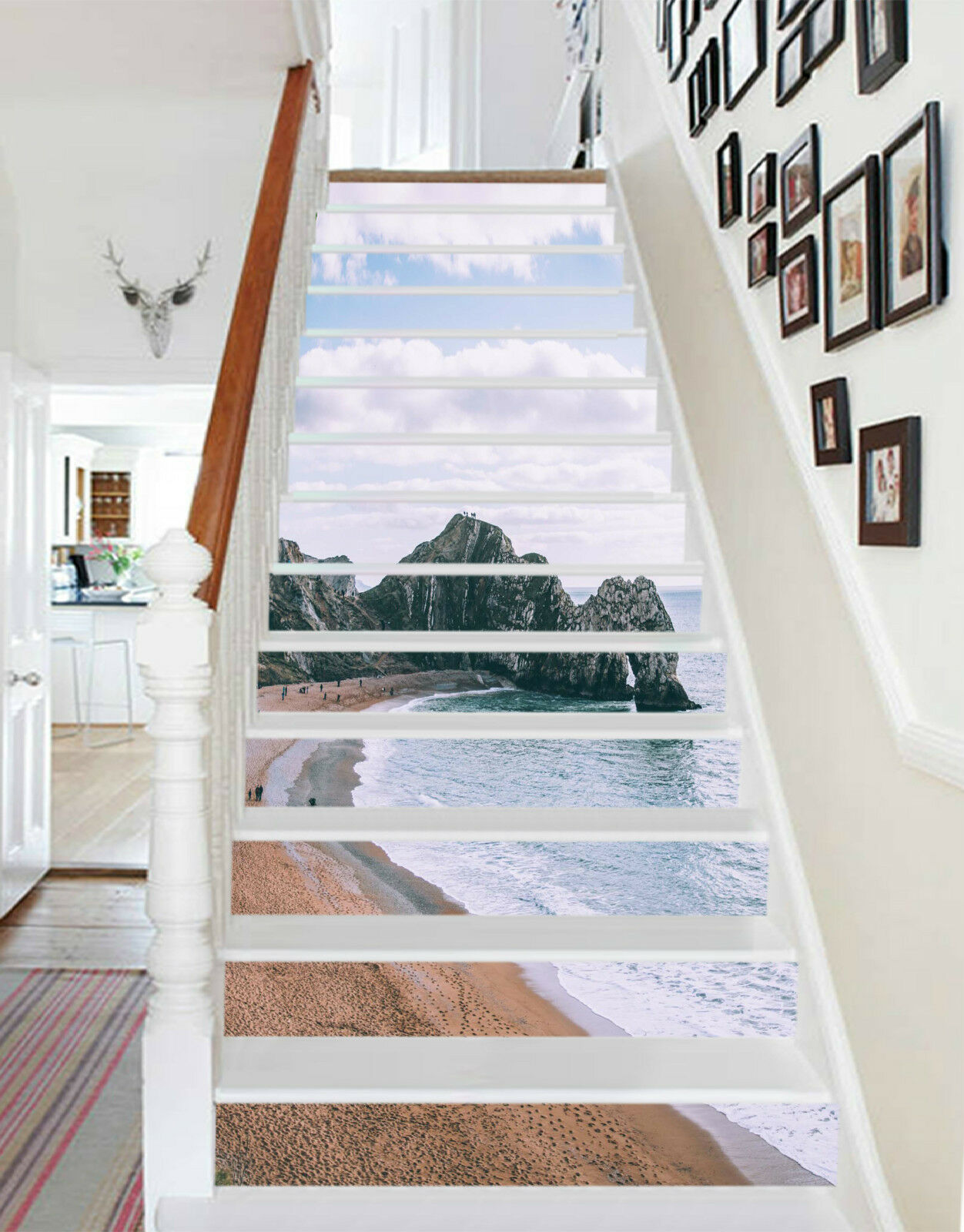 3D Sandstrand 554 Stair Risers Dekoration Fototapete Vinyl Aufkleber Tapete DE