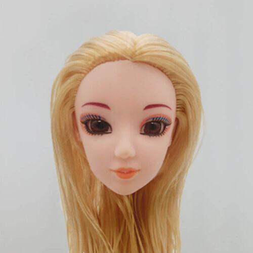 Doll Head with Golden Straight Long Hair Heads For 1//6 Princess Doll Head DIY