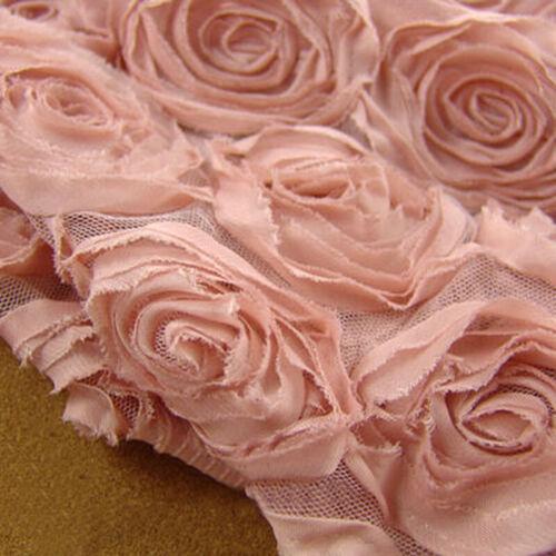 3D Rosette Rose Chiffon Fabric Wedding Bridal Dress Cloth Diy Material 50/'/' W