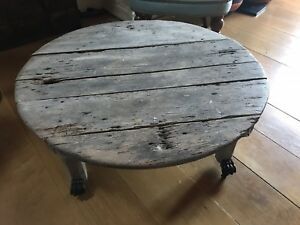Details About Antique Painted Distressed Decorative Round Coffee Table On Castors