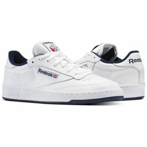 e8882681ff1 Reebok Classic Club C 85 White Navy Blue Mens Casual Shoes Sneakers ...