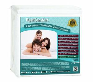 Waterproof-Cotton-Terry-Top-Mattress-Protector-Zippered-Dust-Mite-Bed-Bug-Proof
