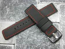 22mm Black PVC Soft Rubber Diver Strap Pilot Maratac Red Stitch Band Large L