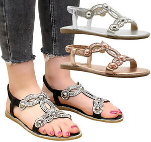 4240df9b4b32 Details about Ladies Womens Flat Diamante Summer Strap Party Comfy Open Toe Sandals  Shoes Size