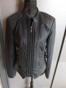 Lederjacke-Jacke-dunkelblau-schwarz-Biba-Crisca-40-L