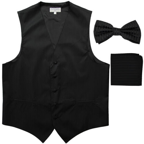 New Men/'s Formal Vest Tuxedo Waistcoat/_bowtie /& hankie set stripe wedding black
