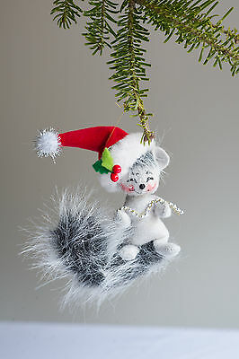"""Annalee SILVER SPARKLE SQUIRREL Christmas unbreakable soft Tree Ornament 3"""" NEW!"""