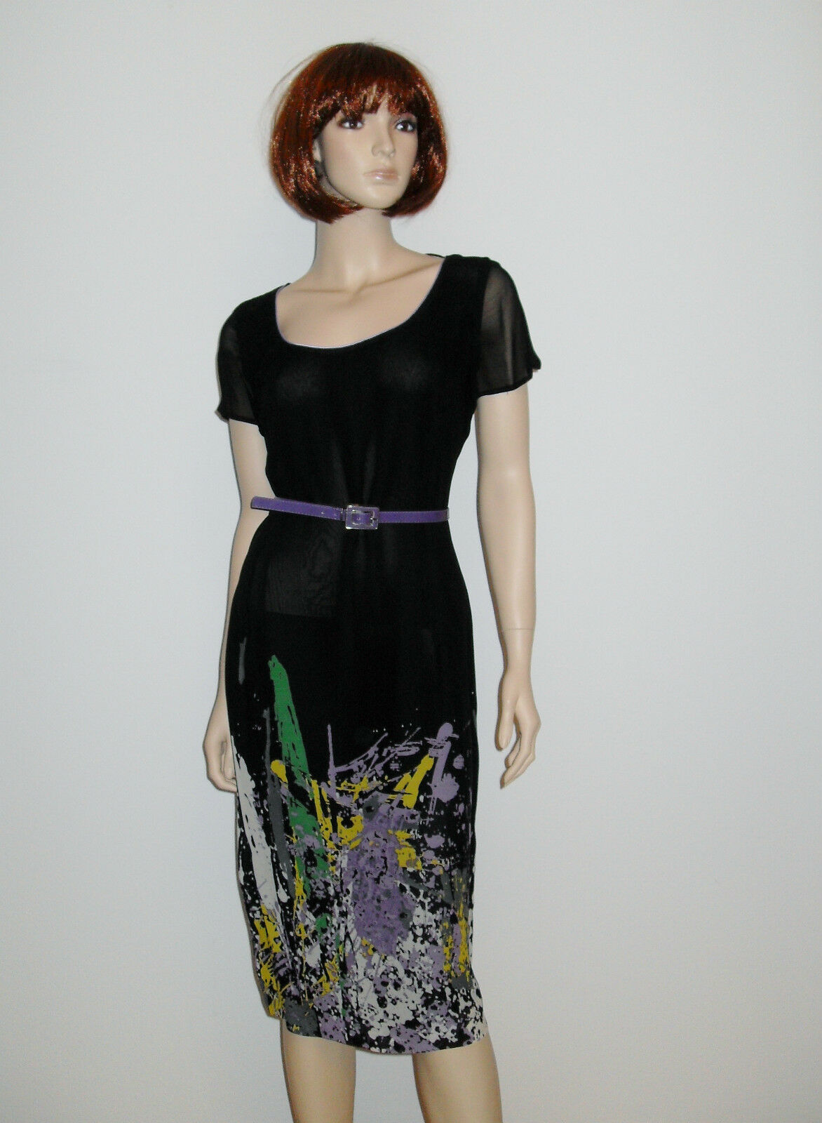 Schönes Kleid mit Gürlel Etuikleid TopDesign  Knielang Kurzarm Mehrfarbig Gr 42