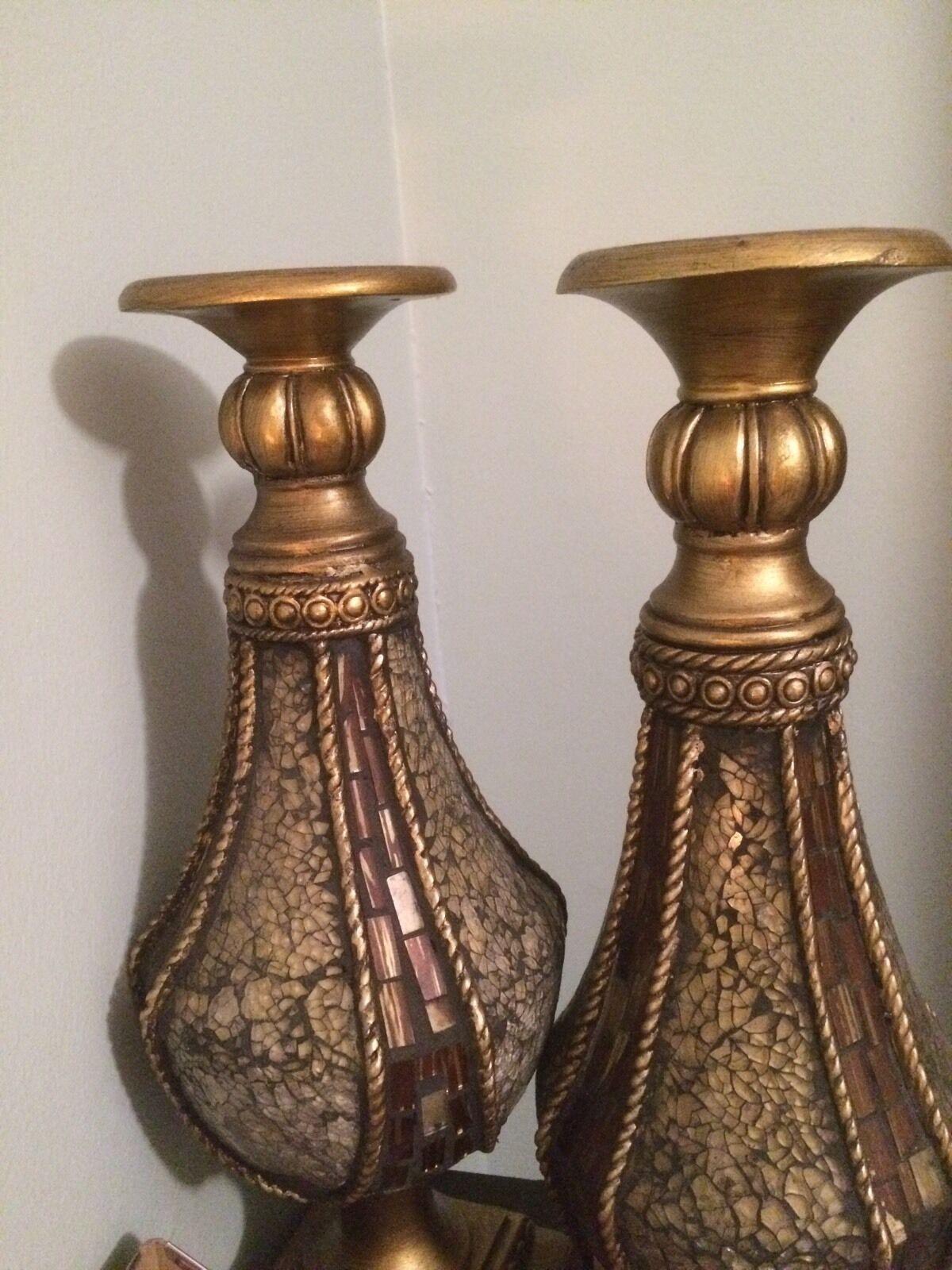 Gran toscano marrón de vidrio de Color ámbar Pilar candelabros Candelabros S 2