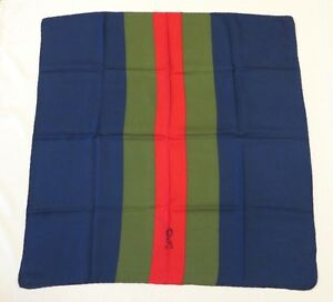 100-Authentic-Roberta-di-Camerino-100-Silk-Scarf-Red-Green-Navy-Made-In-Italy