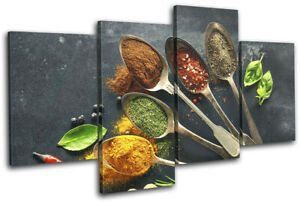 Spices-Herbs-Cooking-Food-Kitchen-MULTI-CANVAS-WALL-ART-Picture-Print