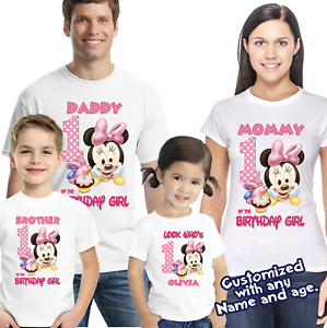 Baby Minnie Mouse Personalized Birthday T shirt Family birthday Shirts 1st 2nd