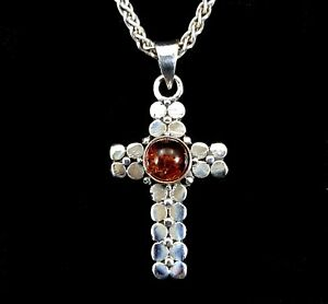 Handcrafted-Solid-925-Sterling-Silver-Genuine-Baltic-Amber-Button-Cross-Pendant
