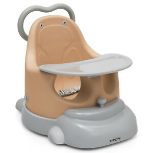 Babyjoy 6 in 1 Baby Booster Seat Convertible Toddler Walker w/Tray Wheels Orange