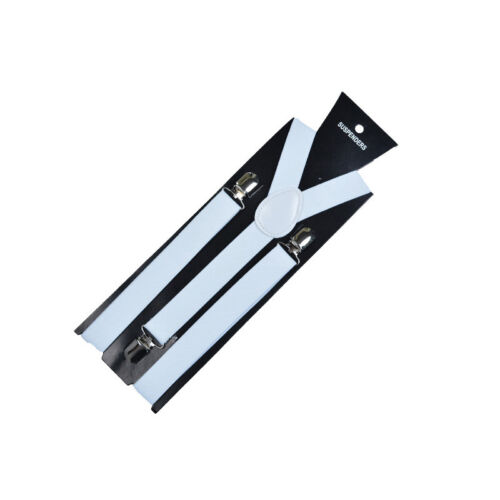 Men Straps Adjustable Elastic Stripe Braces Clip Polyester Suspenders Women New