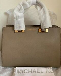 7381500fd586 Image is loading NWT-MICHAEL-MICHAEL-KORS-Quinn-Large-Saffiano-Leather-