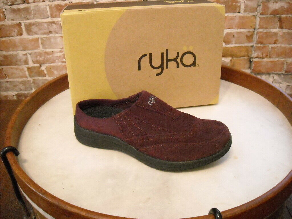 Ryka Purple Suede & Neoprene Slip On Mule Clog 6.5 NEW