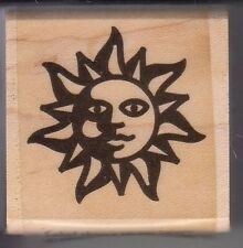 "sun icon global solutions Wood Mounted Rubber Stamp  1 1/2 x 1 1/2""  Free Ship"