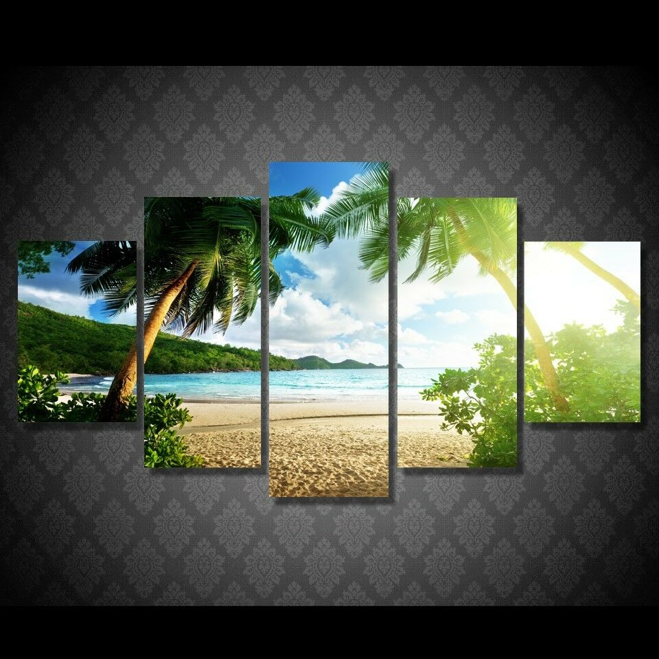 Beach Palm Tree Seascape 5 Panel Canvas Print Wall Art