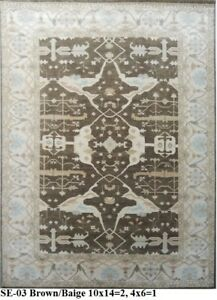 Indian-Hand-Knotted-Oushak-Persian-Oriental-Wool-Woollen-Carpet-Area-Rug-Teppich