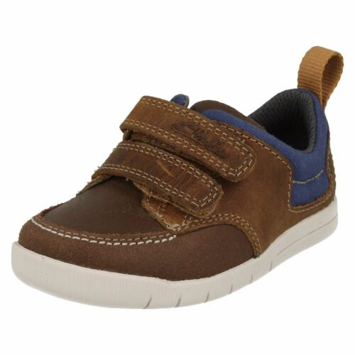 Infant Boys Clarks Lightweight Hook /& Loop Leather First Casual Shoes Crazy Jay