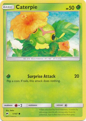 4x Caterpie Common Burning Shadows Pokemon Near Mint 1//147