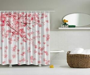 Image Is Loading Pink Japanese Cherry Blossoms Flowers Fabric Shower Curtain