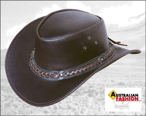 Lederhut Westernhut Cowboyhut Frisco brown, Gr. XL 60 61, Scippis Hut Rindsleder