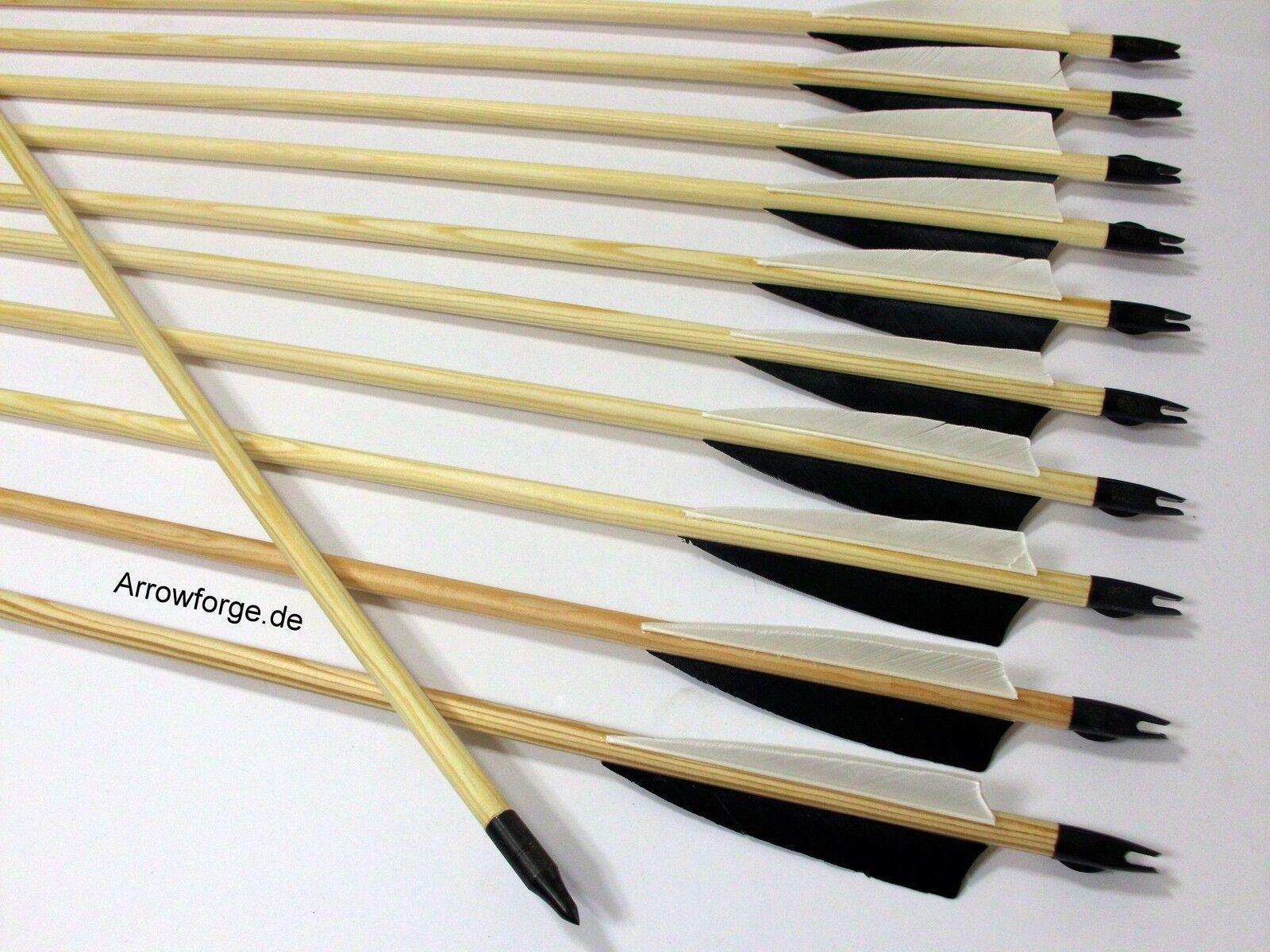 20x Holzpfeile  Langbogenpfeile Pfeile traditionell Langbogen 4  Shield