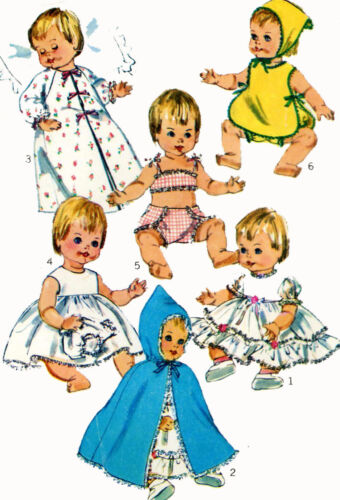 Vintage Doll Clothes PATTERN 6817 for 12 in Betsy Wetsy Ginny Baby by Ideal