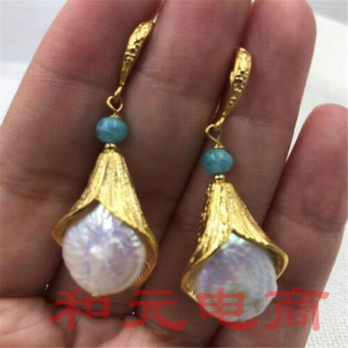 15-19 mm énorme Perle Baroque Boucles D/'oreilles 18K or feuilles Parti AAA fait à la main Dangler
