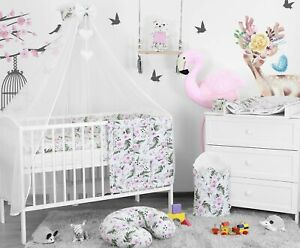BABY-BEDDING-SET-3-6-10-14-PC-BUMPER-PILLOW-DUVET-FIT-COT-COTBED-140x70-120x60