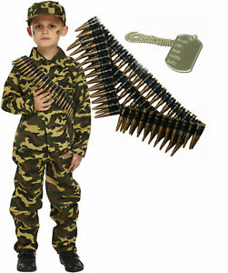 Army-Boy-Kids-Soldier-Action-Man-Fancy-Dress-Costume-Outfit-Bullet-Belt-Dog-Tag