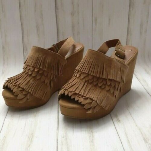 Lucky Brand Jeena Leather Fringe Wedges 6.5 Brown